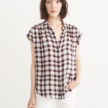 Womens Relaxed Plaid Shirt | Womens Tops | Abercrombie.com