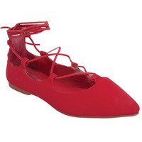 """Sleep"" Ballerina Style Lace Up Ankle Tie Flats - Red"