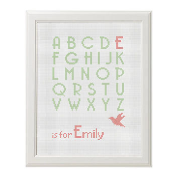 Alphabet Cross Stitch name nursery Cross Stitch pattern baby girl baby boy kids ABS Instant Digital Download PDF chart Embroidery scheme