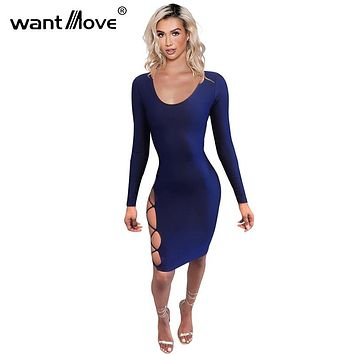 Wantmove Sexy Lace Up Hollow Out Dress 2017 New fashion Vestidos Women Summer Style Sexy Club Party Long Sleeve Dresses XD776