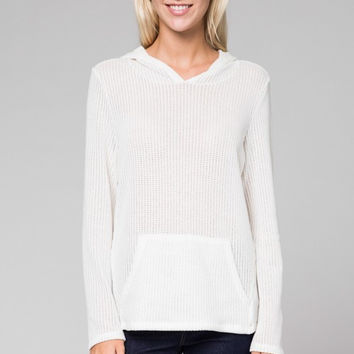 Waffle Knit Sheer Hooded Sweater