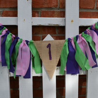 High Chair fabric banner 32 inches long Purple 1 lime green purple hot pink 1st birthday banner Ready to Ship