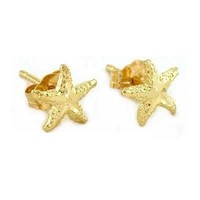 14K Gold Starfish Earrings Sea Jewelry 7mm