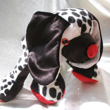 DALMATIAN - black and white spotted - Spaniel - Cuddly PUPPY - Soft Plush Stuffed Toy Clown Dog Animal - Handmade OOAK
