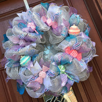 Deco Mesh Christmas Wreath, Silver Purple Blue Cupcake Candy Wreath, Pastel Christmas
