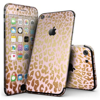 Pink Gold Flaked Animal v3 - 4-Piece Skin Kit for the iPhone 7 or 7 Plus