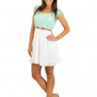 Ivory And Mint Lace Short Dress