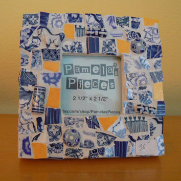 Blue and White, Yellow Broken China Mosaic Picture Frame- Pique Assiette Mosaic Frame