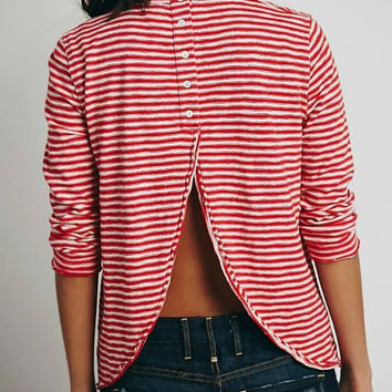 American 2016 Women Fashion Vintage Striped Button Backless turtleneck Red Long Sleeve Tops Tee Shirt