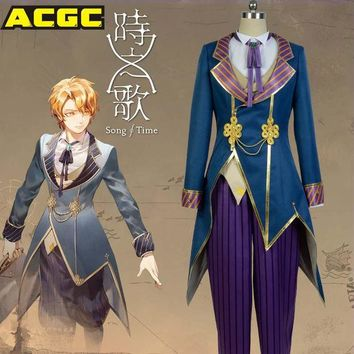 DCCKHY9 Song Of Time Project Yuno Asker Cosplay Uniform Cosplay Costume Shirt+pants+vest+coat+bowtie Halloween Costume For Men Women