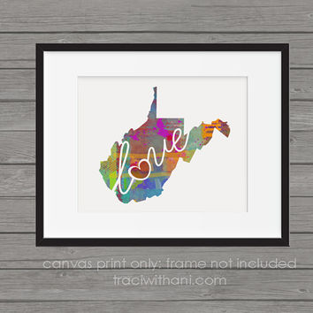 West Virginia - WV Canvas Paper Print:  A Modern and Colorful Abstract Watercolor Style Original Art Piece / Home State Love Map