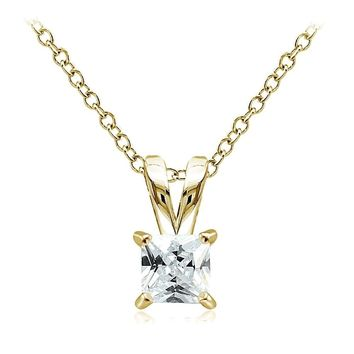 Gold Tone on Sterling Silver 3/4ct Cubic Zirconia 5mm Square Solitaire Necklace