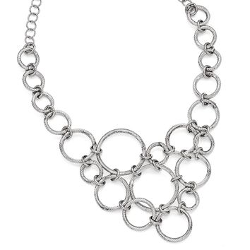 Textured Multi Circle Collar Necklace in Sterling Silver, 18.5 Inch