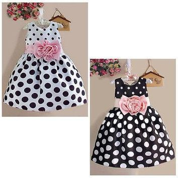 Princess Baby Kids Girls Party Wedding Polka Dot Flower Gown Fancy Dress 2-7Y