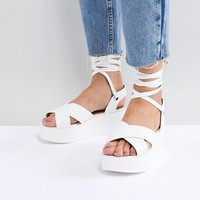 RAID Wide Fit Alma White Flatform Ankle Tie Sandals at asos.com