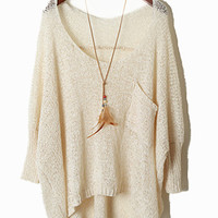 Irregular Mesh Hollow Bat Sleeve Loose Sweater