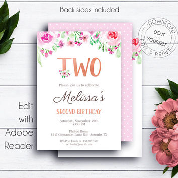 Rose Gold 2nd Birthday Invitation, Blush Roses, Kids Birthday Party Printable Invitation, Girl Birthday Invite, Editable Birthday