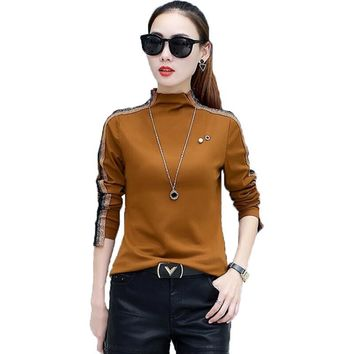 Women Blouses Vintage Spliced Long Sleeve Fashion Work Casual Shirt Women Tops Camisas Femininas Autumn Turtleneck Blusas Mujer