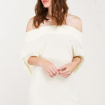 AKIRA Knit Ribbed Off The Shoulder Short Sleeved Tunic Top in Cream
