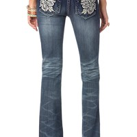 Hawaiian Big Flower Boot Cut Jeans