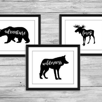 Wild Things Set, Printable nursery wall art, woodland nursery prints, 8x10