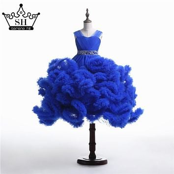 2017 New Arrival Rushed Girls Pageant Dresses Cloud Flower Girl Dresses Baby Cloudy Puffy Ball Gown Dress Plus Size Custom Made