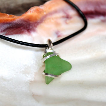 Sea Glass Jewelry made in Hawaii, wire wrapped sea glass necklace for men, Hawaiian jewelry, leather jewelry for men