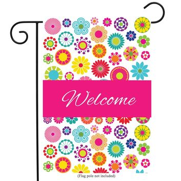 """Olive Green Welcome Floral Garden Flag Double-sided Vivid Color Flowers Yard Flag, Polyester, Great Design Yard Flag to Brighten Up Your Home 12"""" x 18"""" + BONUS Rubber Stopper and Anti-wind Clip"""