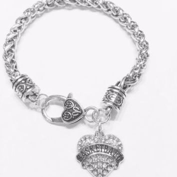 Crystal Basketball Heart Gift Sports Mom Charm Bracelet