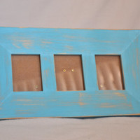 Distressed Turquoise Picture Frame With Three Openings