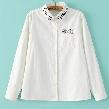 Fashion Casual White Long Sleeve Monogram Embroider Contracted T-shirt