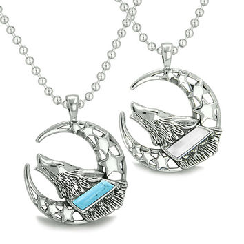 Love Couple Howling Wolf Moon and Stars Positive Earth Energy Yin Yang Powers Pendant Necklaces