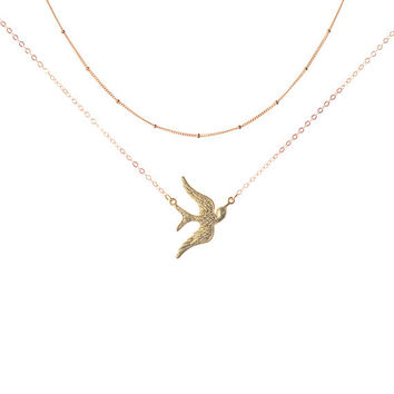 Gold Bird Necklace, Sparrow Necklace, Flying Bird Necklace, Suspended Bird Necklace, Gold Layer Necklace, Satellite Necklace, Delicate Gold