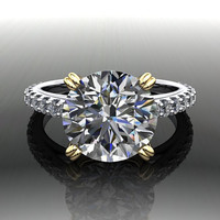 Forever Brilliant Moissanite and Diamond Engagement Ring 3.37 CTW