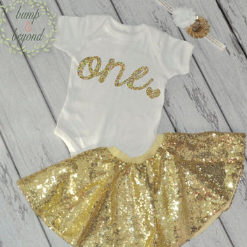 First Birthday Outfit for Baby Girl One Year Old Girl Gold Outfit Bodysuit, Headband, Sequin Skirt - Golden Birthday Shirt 032