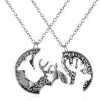 Puzzle necklace engraved boyfriend girlfriend Deer Head Heart Hunting southern love buck doe his hers promise necklace for gifts