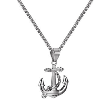 Ship Anchor Design Pendant Stainless Steel Simulated Diamonds