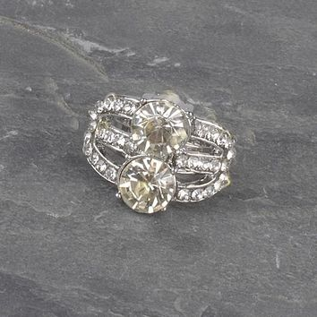 Crystal and Stone Studded Multiple Band Ring