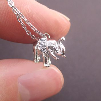 3D Miniature Elephant Figure Shaped Pendant Necklace in Silver or Gold