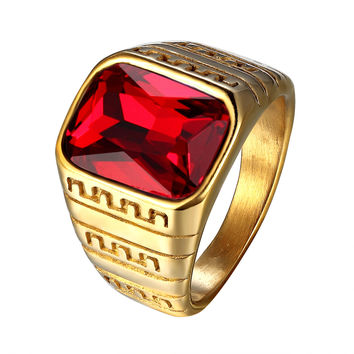 Red Solitaire Stone Ring Greek Design Gold Tone