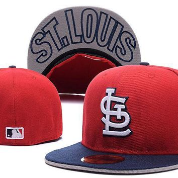 ESBON St. Louis Cardinals New Era MLB Authentic Collection 59FIFTY Hat Red-Blue