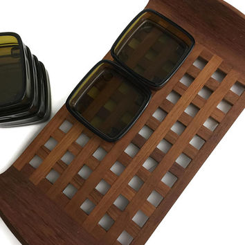 Jens Quistgaard Dansk Design Wood Condiment Serving Tray with Amber Glass Inserts