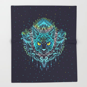 Cat Mandala Throw Blanket by printapix