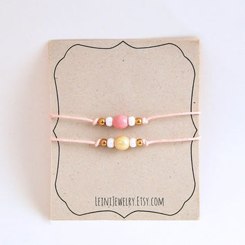 Set of friendship bracelets with beads, pink friendship bracelet set, cotton cord bracelets, bff gift
