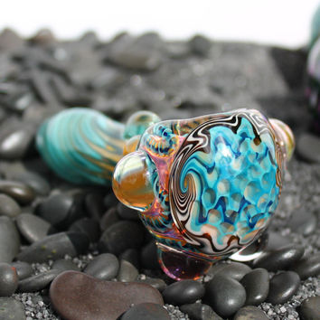 Honeycomb Wig Wag switchback Inside out color changing glass pipe AMERICAN made