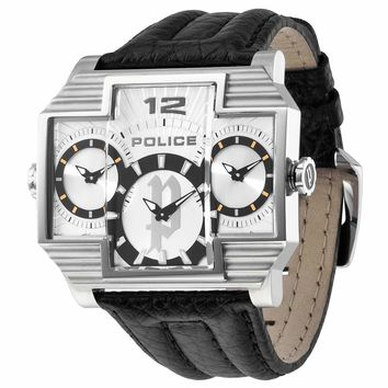 Police PL-13088JS-04 Men's Hammerhead Silver Three Dial Leather Strap Rectangular Watch