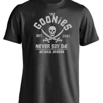 The Goonies Never Say Die Astoria Oregon Pirate Flag Mens & Womens T Shirt