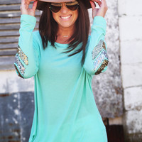 Sequin Chevron Tunic {Mint}