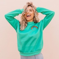 Rainbow Mockneck Fleece Sweatshirt