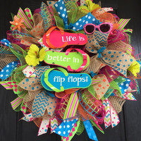 Summer deco mesh wreath, flip-flop mesh wreath, Flip-flop deco mesh wreath, flip-flop wreath, summer wreath, front door wreath